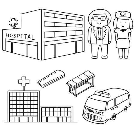 medical staff: vector set of hospital and medical staff