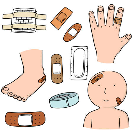 vector set of medical plaster Illustration