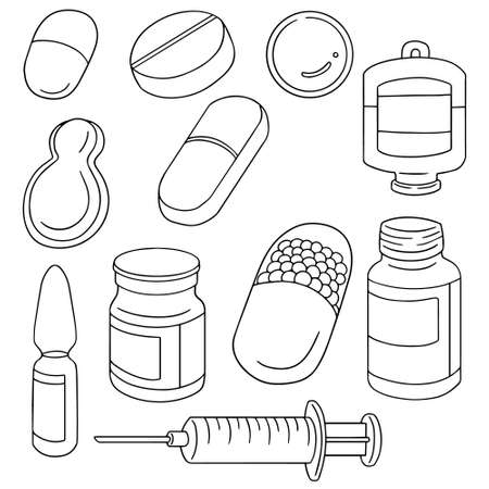 vector set of medicine Çizim