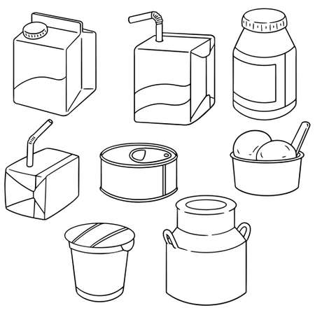 canned drink: vector set of milk product Illustration