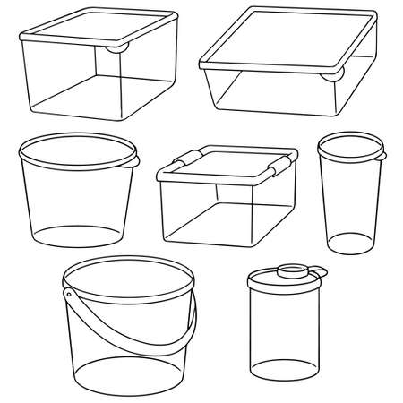 conveniently: vector set of plastic container