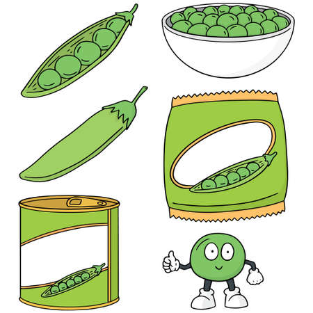 vector set of green pea