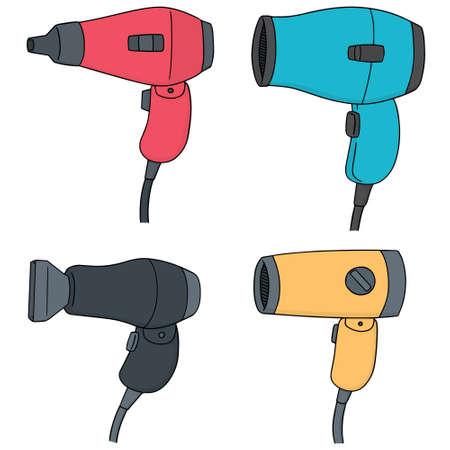 vector set of hair dryer