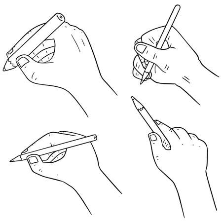 hand pencil: vector set of hand writing with pencil