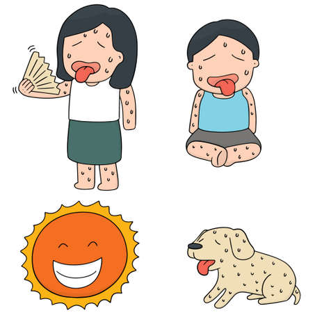 hot weather: vector set of hot weather