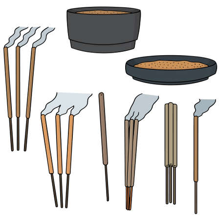 smell of burning: vector set of incense sitck Illustration
