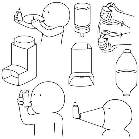 obstructive: vector set of inhalation medicine Illustration