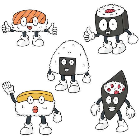 egg roll: vector set of sushi cartoon