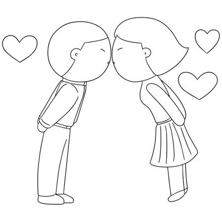 he is beautiful: vector set of man and woman kissing