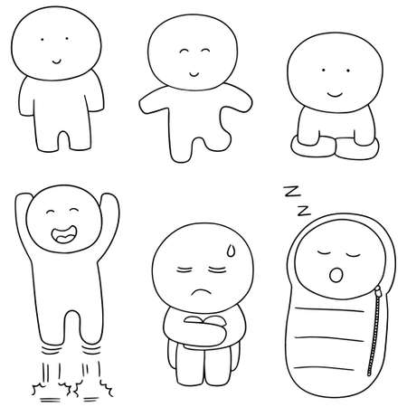 sleeping bags: vector set of man Illustration