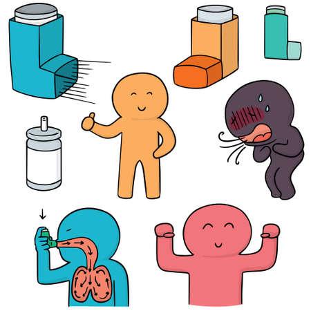 Conjunto de vectores de la medicina de inhalación Foto de archivo - 63200083