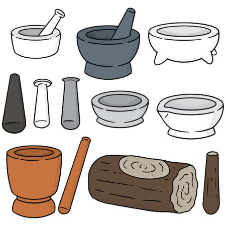 mortar and pestle: vector set of mortar and pestle