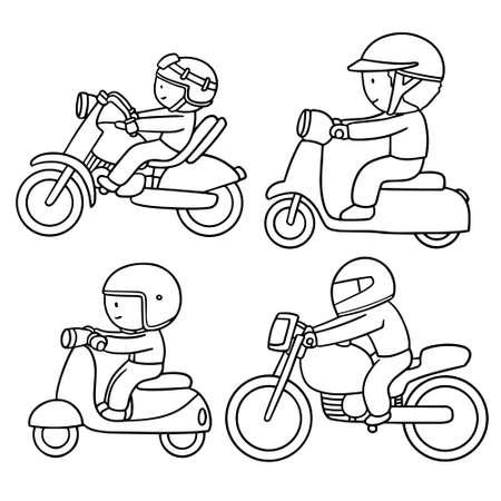 vector set of riding motorcycle Stock Illustratie