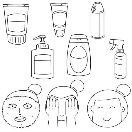 woman washing face: vector set of face cleanser