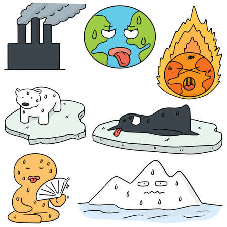 stop global warming: vector set of global warming