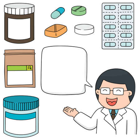 a tablet blister: vector set of medicine Illustration