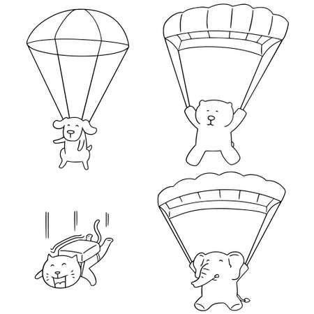 vector set of animal parachuting