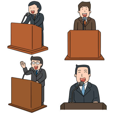 vector set of politician talk at podium Illustration