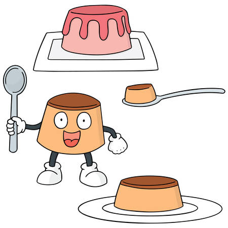 flan: vector set of pudding
