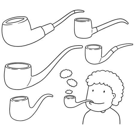pipe smoking: vector set of smoking pipe