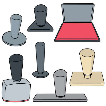 vector set of rubber stamp