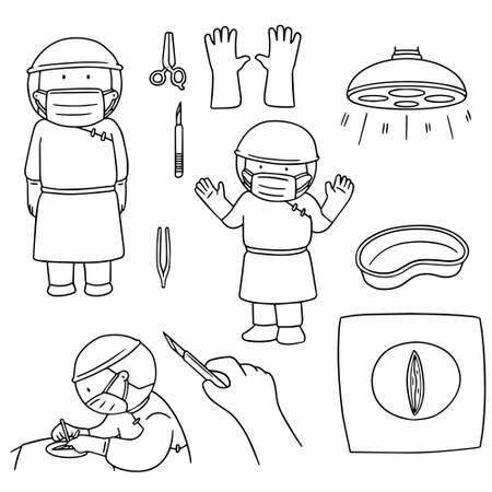 protective gown: vector set of surgeon