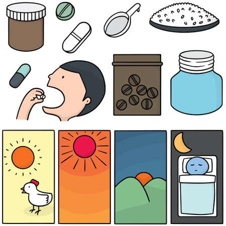 morning noon and night: vector set of taking medicine instruction Illustration