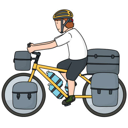 pannier: vector set of touring bicycle