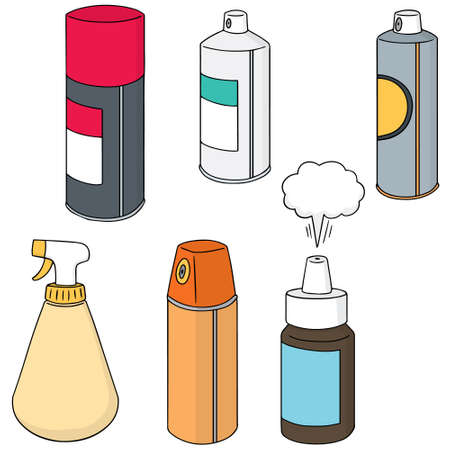 freshener: vector set of spray can