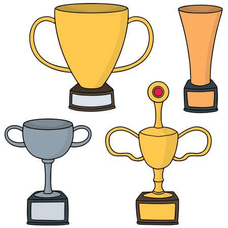 vector set of trophy