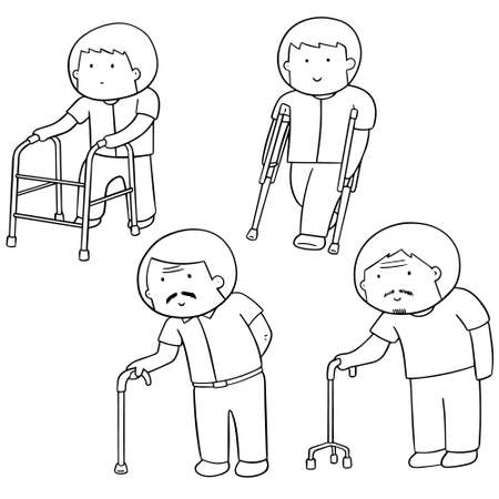 vector set of man with walking stick