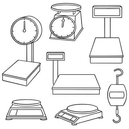 calibrate: vector set of weighing machine Illustration