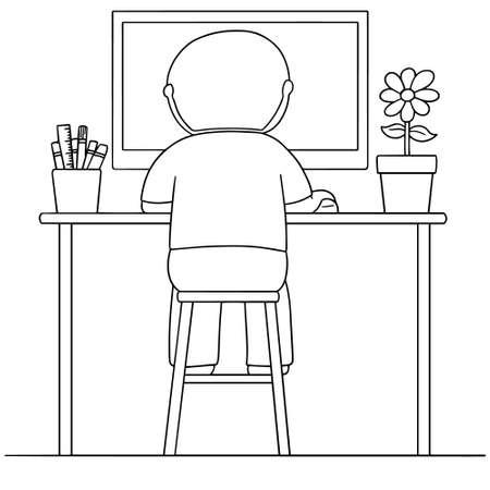 cartooning: vector set of man using computer Illustration