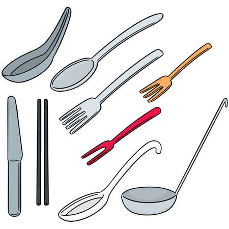 vector set of tableware