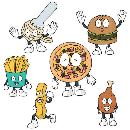 vector set of fastfood cartoon