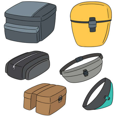 vector set of bicycle bag
