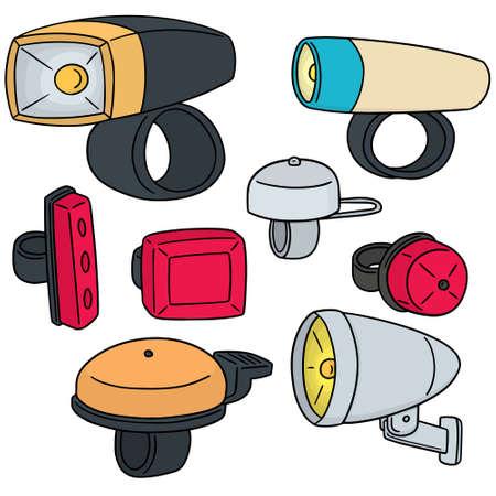 wektor zestaw światła rowerowego i dzwonka