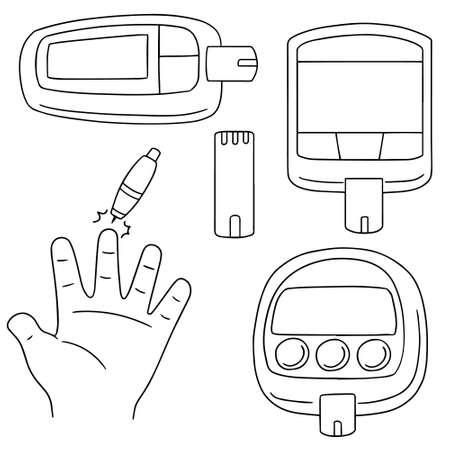 blood sugar: vector set of blood sugar monitor