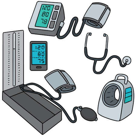 physical exam: vector set of blood pressure monitor
