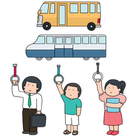 vector set of passenger in public transportation(bus, train) Vetores