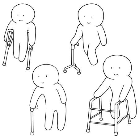 physiotherapist: vector set of man with walking stick