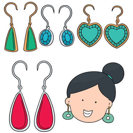 earrings: vector set of earrings Illustration