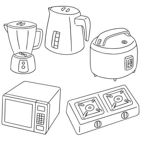 vector set of kitchen appliances  イラスト・ベクター素材