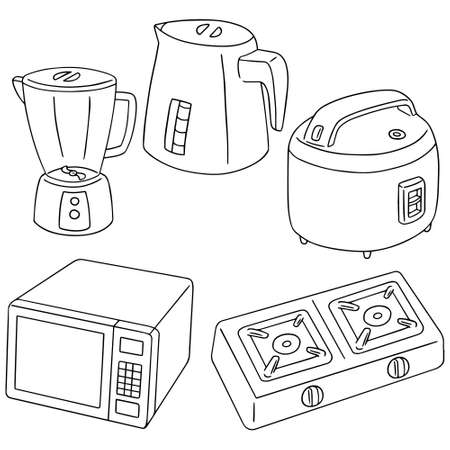 vector set of kitchen appliances Çizim