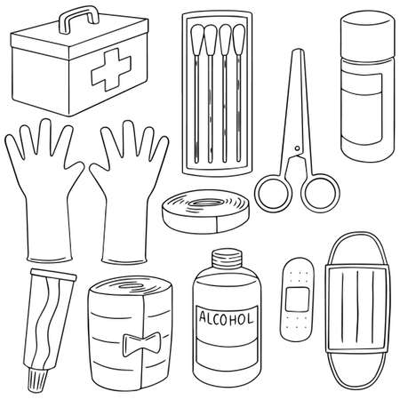 balm: vector set of first aid kit Illustration