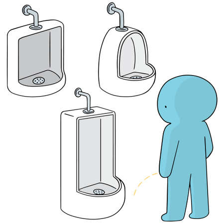 urinal: vector set of man peeing Illustration