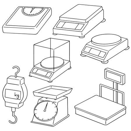 vector set of weighing machine Illustration