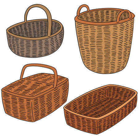 basket: vector set of wicker basket Illustration