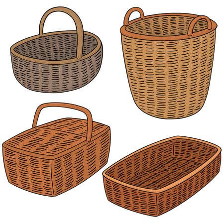 wickerwork: vector set of wicker basket Illustration