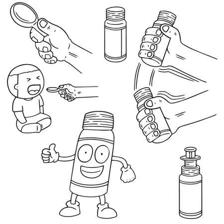 tablespoon: vector set of liquid medicine